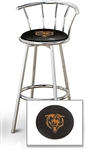 "1 - 29"" Chrome Finish Bar Stool with Backrest Featuring the Chicago Bears NFL Team Logo Decal on a Black Vinyl Covered Seat Cushion"
