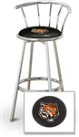 "1 - 29"" Chrome Finish Bar Stool with Backrest Featuring the Cincinnati Bengals Face NFL Team Logo Decal on a Black Vinyl Covered Seat Cushion"