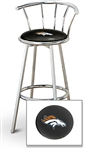 "1 - 29"" Chrome Finish Bar Stool with Backrest Featuring the Denver Broncos NFL Team Logo Decal on a Black Vinyl Covered Seat Cushion"