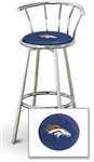 "1 - 29"" Chrome Finish Bar Stool with Backrest Featuring the Denver Broncos NFL Team Logo Decal on a Blue Vinyl Covered Seat Cushion"