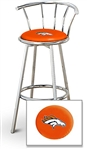 "1 - 29"" Chrome Finish Bar Stool with Backrest Featuring the Denver Broncos NFL Team Logo Decal on a Orange Vinyl Covered Seat Cushion"