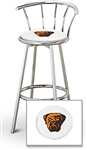 "1 - 29"" Chrome Finish Bar Stool with Backrest Featuring the Cleveland Browns Face NFL Team Logo Decal on a White Vinyl Covered Seat Cushion"