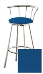 "1 - 29"" Chrome Finish Bar Stool with backrest Featuring a Blue Vinyl Covered Seat Cushion (Seabrook Blue)"