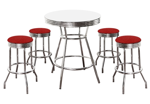 Custom Bar Table Pub Set Barstool Barstools Stool Stools Black Vinyl Retro Chrome Hardwood Top Traditional & The Furniture Cove -5 Piece Retro White Bistro Table u0026 Pub Set With ...