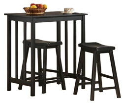"3 Piece Bar Table Set with a 36"" Tall Black Finish Table and 2 - 24"" Tall Saddle Bar Stools"