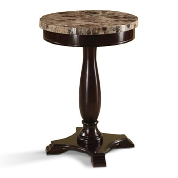 The Furniture Cove Marble Veneer Round Espresso End