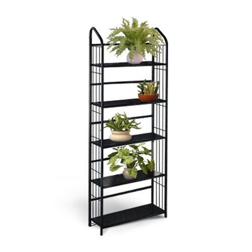 The Furniture Cove 5 Tier Black Metal Shelf Plant Stand