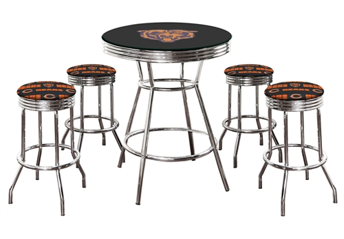 CHICAGO BEARS FOOTBALL LOGO METAL CHROME BAR TABLE GLASS TOP 4 SWIVEL  BARSTOOLS