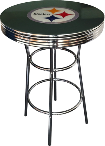 Pittsburgh Steelers Black Fabric Glass Top Chrome Metal Finish Bistro Pub Bar Table