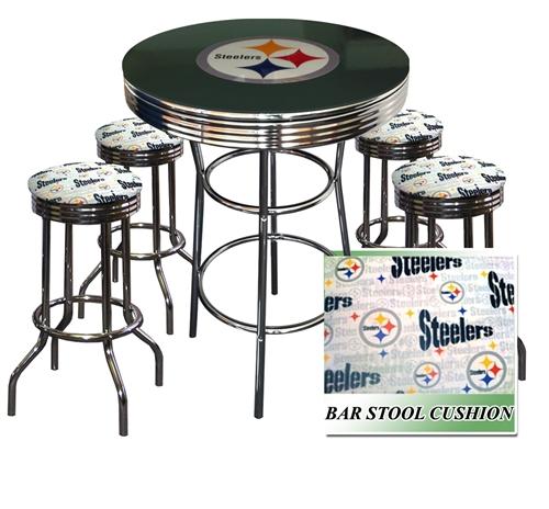 PITTSBURGH STEELERS LOGO METAL CHROME BAR TABLE GLASS TOP W/ 4WHITE FABRIC  CUSHION SWIVEL BAR