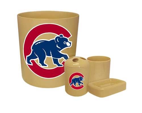 new 4 piece bathroom accessories set in beige featuring chicago cubs mlb team logo - Bathroom Accessories Chicago