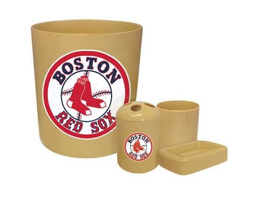 new 4 piece bathroom accessories set in beige featuring boston red sox mlb team logo - Boston Red Sox Bath Accessories