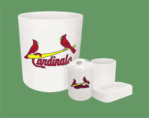 New 4 Piece Bathroom Accessories Set In White Featuring St. Louis Cardinals  MLB Team Logo