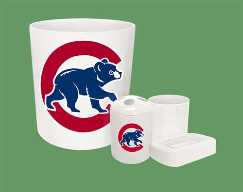 new 4 piece bathroom accessories set in white featuring chicago cubs mlb team logo