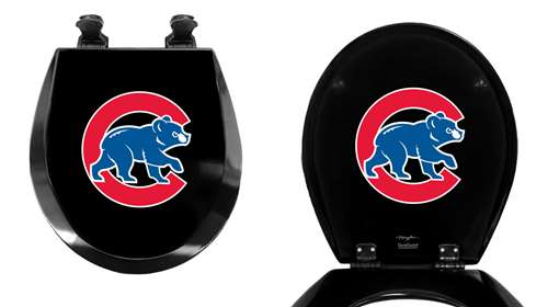 Black Finish Round Toilet Seat W/Chicago Cubs MLB Logo