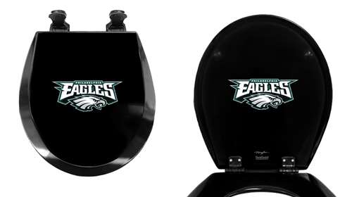 Black Finish Round Toilet Seat W Philadelphia Eagles NFL Logo