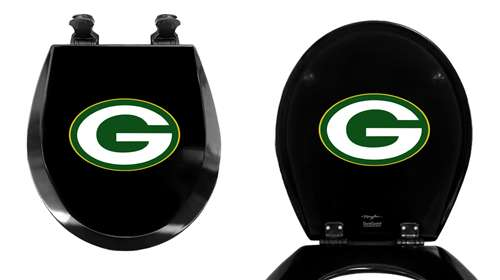 The Furniture Cove Black Finish Round Toilet Seat W Green Bay