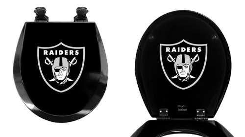 Perfect Black Finish Round Toilet Seat W/Oakland Raiders NFL Logo