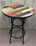 Rustic Man Cave Multi-Colored Pine Wood and Black Metal Finish Bar Table