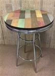 Rustic Man Cave Pine Wood and Chrome Bar Table with a Glass Table Top