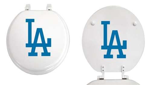wooden white toilet seat. White Finish Round Toilet Seat with the Los Angeles Dodgers MLB Logo The Furniture Cove
