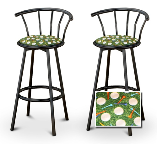 barstools black backrest back rest bar stools stool swivels foot rest ring cushion seat cave man  sc 1 st  The Furniture Cove & The Furniture Cove - 2 Golf Themed Fabric Specialty / Custom Black ... islam-shia.org