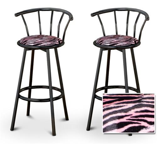 The Furniture Cove 2 Pink Zebra Faux Fur Animal Print