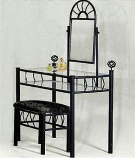 The Furniture Cove Black Metal Vanity With Glass Table