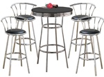 5 Piece Set - Black Table Top with Chrome Finish and Bar Table & Pub Set With 4 Swivel Seat Bar Stools with Back Rests