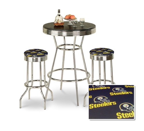 The Furniture Cove 3 Piece Chrome Bar Table Set With 2 Chrome Finish Pittsburgh Steelers Nfl