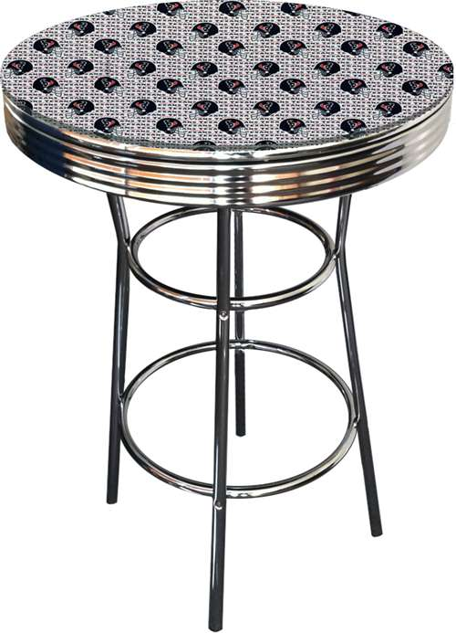 New Chrome Finish Metal Round Bar Table With Glass Table Top U0026 Houston  Texans NFL Football