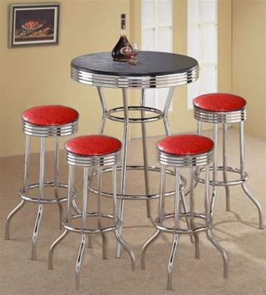 Custom Bar Table Pub Set Barstool Barstools Stool Stools Black Red Glitter  Vinyl Retro Chrome Hardwood