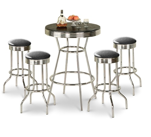 black glitter sparkle barstools chrome table black white round bar stools stool swivels foot rest ring  sc 1 st  The Furniture Cove & The Furniture Cove - 5 Piece Retro Black Bistro Table \u0026 Pub Set With ...
