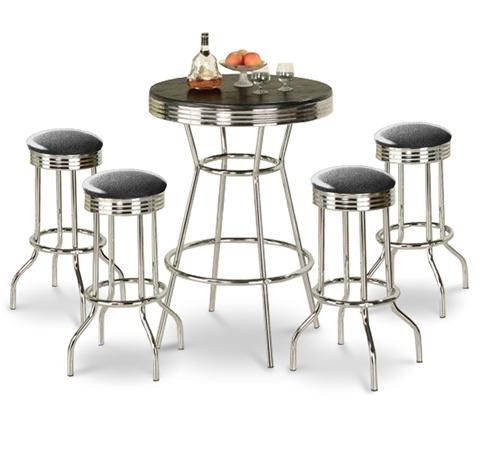 The Furniture Cove 5 Piece Retro Black Bistro Table