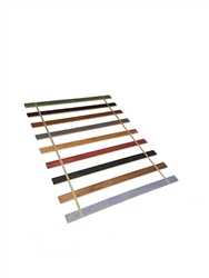 Custom Made in the U.S.A.! Full Size Stained Wood Bed Slats with Your Choice of Colored Strapping - Cut to the Width of Your Choice
