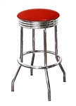 "1 - 24"" Swivel Seat Bar Stool Featuring a Red Glitter Vinyl Covered Seat Cushion"