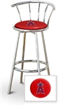 "1 - 29"" Chrome Metal Finish Bar Stool with backrest Featuring the Anaheim Angels MLB Team Logo Decal on a Red Vinyl Covered Seat Cushion"