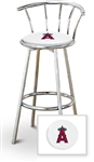 "1 - 29"" Chrome Metal Finish Bar Stool with backrest Featuring the Anaheim Angels MLB Team Logo Decal on a White Vinyl Covered Seat Cushion"