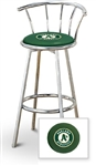 "1 - 29"" Chrome Metal Finish Bar Stool with backrest Featuring the Oakland Athletics MLB Team Logo Decal on a Green Vinyl Covered Seat Cushion"