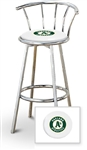 "1 - 29"" Chrome Metal Finish Bar Stool with backrest Featuring the Oakland Athletics MLB Team Logo Decal on a White Vinyl Covered Seat Cushion"