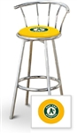 "1 - 29"" Chrome Metal Finish Bar Stool with backrest Featuring the Oakland Athletics MLB Team Logo Decal on a Yellow Vinyl Covered Seat Cushion"