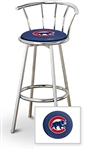 "1 - 29"" Chrome Finish Bar Stool with Backrest Featuring the Chicago Cubs MLB Team Logo Decal on a Blue Vinyl Covered Seat Cushion"