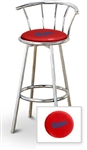 "1 - 29"" Chrome Finish Bar Stool with backrest Featuring the Los Angeles Dodgers MLB Team Logo Decal on a Red Vinyl Covered Seat Cushion"