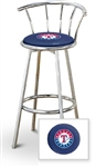 "1 - 29"" Chrome Finish Bar Stool with backrest Featuring the Texas Rangers MLB Team Logo Decal on a Blue Vinyl Covered Seat Cushion"