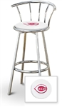 "1 - 29"" Chrome Finish Bar Stool with backrest Featuring the Cincinnati Reds MLB Team Logo Decal on a White Vinyl Covered Seat Cushion"