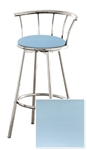 "1 - 29"" Chrome Finish Bar Stool with backrest Featuring a Blue Vinyl Covered Seat Cushion (Newport Baby Blue)"