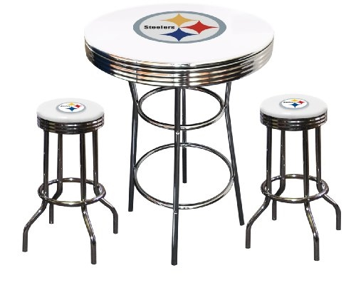 Thefurniturecove specilizes in this white pubbar table set 3 piece white pubbar table featuring the pittsburgh steelers nfl team logo decal and watchthetrailerfo