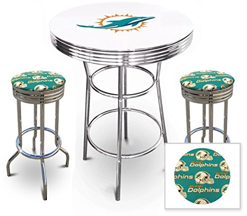 Merveilleux 3 Piece White Pub/Bar Table Featuring The Miami Dolphins NFL Team Logo  Decal And ...