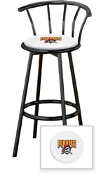 Stupendous 1 29 Black Finish Bar Stool With Backrest Featuring The Pittsburgh Pirates Mlb Team Logo Decal On A White Vinyl Covered Seat Cushion Squirreltailoven Fun Painted Chair Ideas Images Squirreltailovenorg