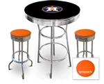 3 Piece Black Pub/Bar Table Featuring the Houston Astros MLB Team Logo Decal and 2 Orange Vinyl Covered Cushions on Swivel Stools